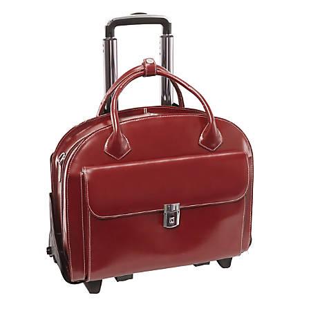 McKlein Glen Ellyn Italian Leather Briefcase With Front Key Lock, Red