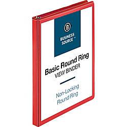 Business Source Round Ring Binder 12