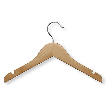 Honey-Can-Do Wooden Kids' Hangers, Maple, Set Of 10