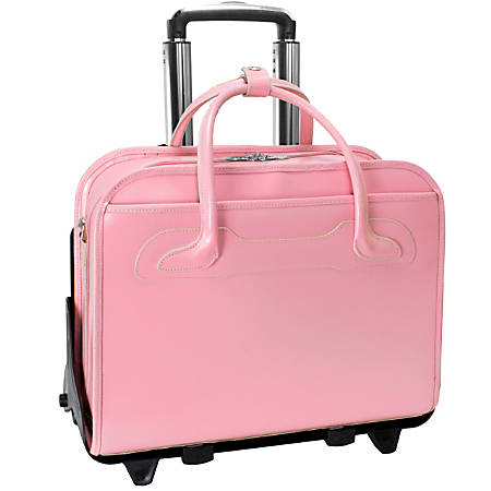 McKlein Willow Brook Leather Detachable-Wheeled Briefcase, Pink
