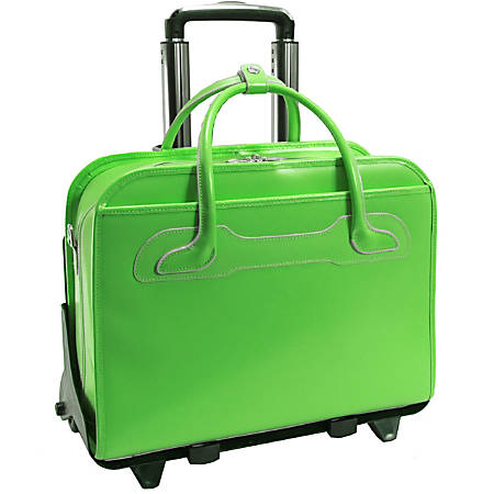 McKlein Willow Brook Italian Leather Detachable-Wheeled Briefcase, Green