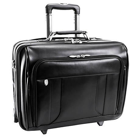 McKlein Lasalle Wheeled Overnight Case With Removable Laptop Sleeve, Black