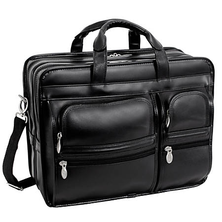 McKlein Clinton Detachable-Wheeled Leather Laptop Case, Black