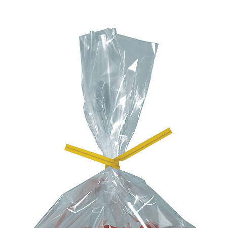 "Partners Brand Paper Twist Ties, 5/32"" x 8"", Yellow, Case Of 2,000"