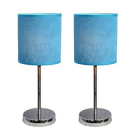 "Simple Designs Mini Basic Table Lamps, 11 7/8""H, Blue Shade/Chrome Base, Set Of 2"