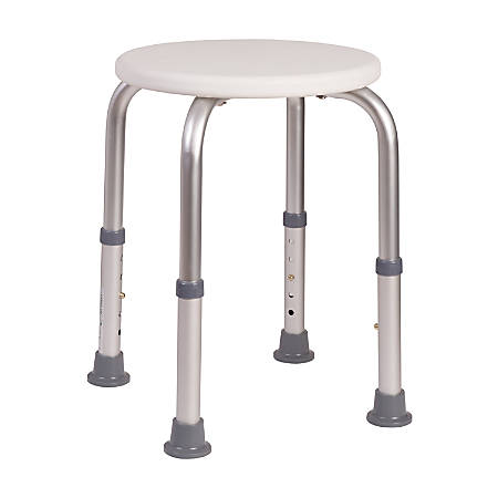 """HealthSmart® Extra-Compact Adjustable Shower Stool, 20""""H x 6 1/2""""W x 6 1/2""""D, White"""