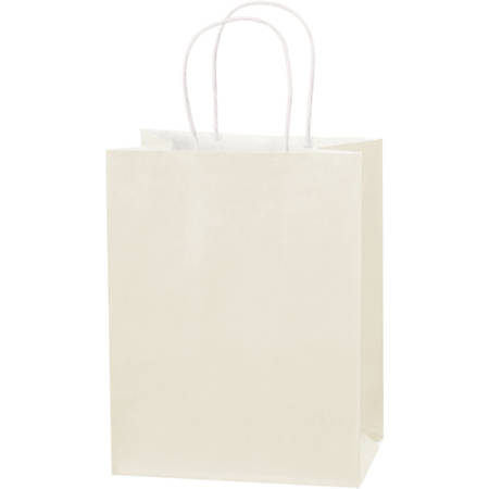 """Partners Brand Tinted Paper Shopping Bags, 10 1/4""""H x 8""""W x 4 1/2""""D, French Vanilla, Case Of 250"""