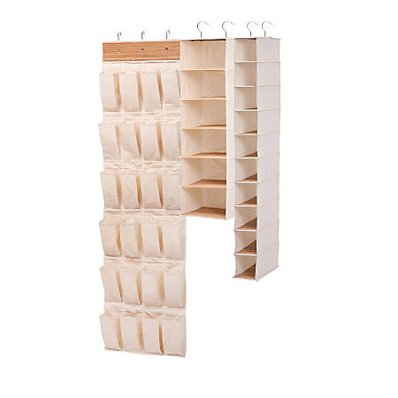 Honey-Can-Do 3-Piece Bamboo Closet Organization Kit, Natural