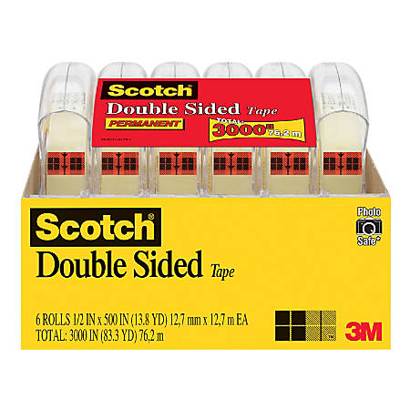 "Scotch® Double-Sided Tape, 1/2"" x 500"", Clear, Pack Of 6 Rolls"