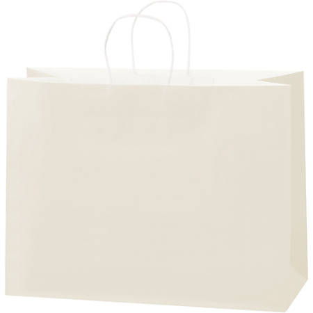 """Partners Brand Tinted Paper Shopping Bags, 12""""H x 16""""W x 6""""D, French Vanilla, 250/Case"""