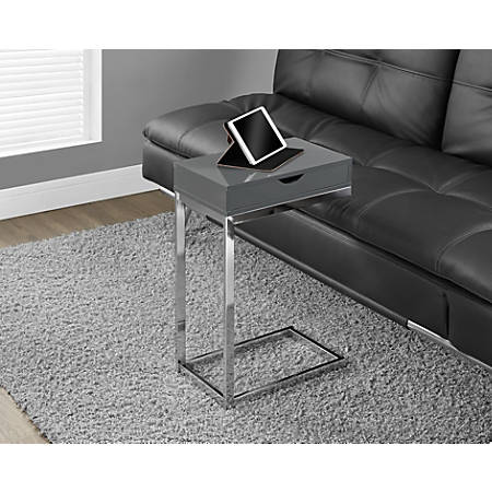Monarch Specialties Accent Table With Side Drawer, Glossy Gray/Chrome