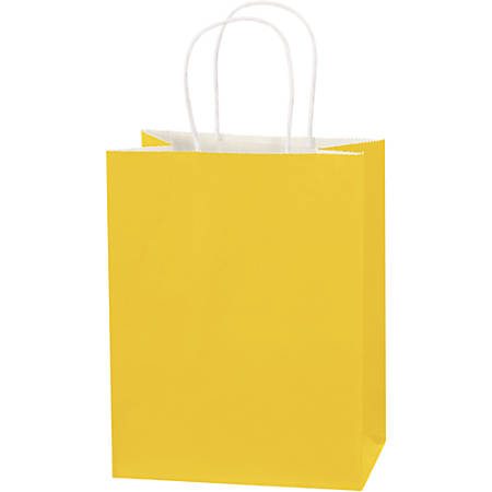 "Partners Brand Buttercup Tinted Shopping Bags 8"" x 4 1/2"" x 10 1/4"", Case of 250"