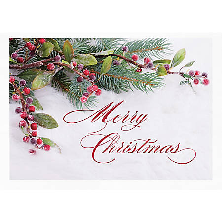 """Custom Full-Color Holiday Cards With Envelopes, 7"""" x 5"""", Frosted Berries, Box Of 25 Cards"""