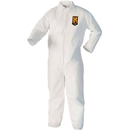 Kimberly-Clark A40 Protection Coveralls - Comfortable, Zipper Front, Breathable - 2-Xtra Large Size - Liquid, Flying Particle Protection - White - 25 / Carton