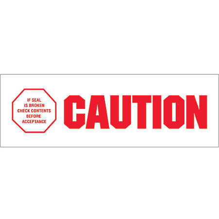 "Tape Logic® Caution - If Seal Is Broken Preprinted Carton Sealing Tape, 3"" Core, 2"" x 110 Yd., Red/White, Case Of 6"