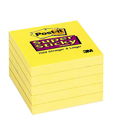 "Post-it® Super Sticky Notes, 3"" x 3"", Canary Yellow, Pack Of 2 Pads"
