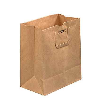 "Partners Brand Flat Handle Grocery Bags, 14""H x 12""W x 7""D, Kraft, Case Of 300"
