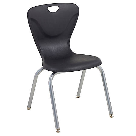 """ECR4Kids Contour Stacking Chairs, 32 5/8""""H, Black/Silver, Set Of 4"""