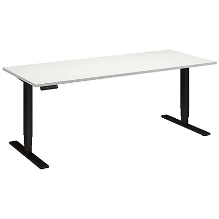 "Bush Business Furniture Move 80 Series 72""W x 30""D Height Adjustable Standing Desk, White/Black Base, Premium Installation"