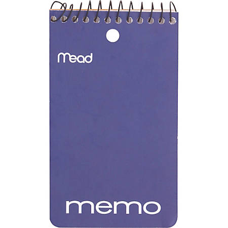 "Mead® Wirebound Memo Book, 3"" x 5"", 60 Sheets, Assorted Colors"