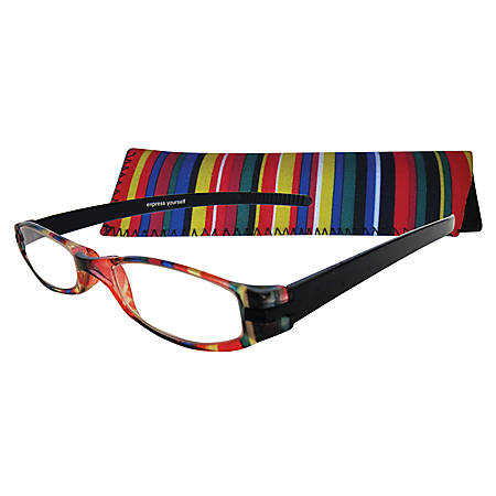 Zoom Eyeworks Reading Eyewear, Expressions Neoprene Multi-Stripe, +1.50