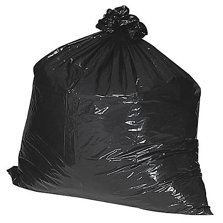 """Nature Saver 75% Recycled Heavy-Duty Trash Liners, 45 Gallons, 40"""" x 46"""", Black, Box Of 100"""