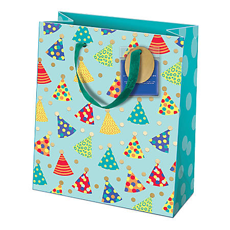 "Lady Jayne Gift Bag With Tissue Paper, Hang Tag, Vertical, Party Hats, 6-1/4""H x 8-1/2""W x 3-1/2""D"