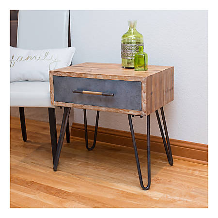 FirsTime & Co.® Vaughn Hairpin Table, Rectangular, Brown/Galvanized Metal