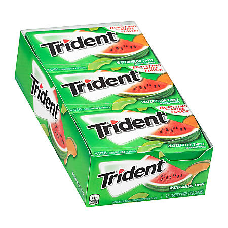 Trident® Watermelon Twist Sugar-Free Gum, 14 Pieces Per Box, Pack Of 12 Boxes