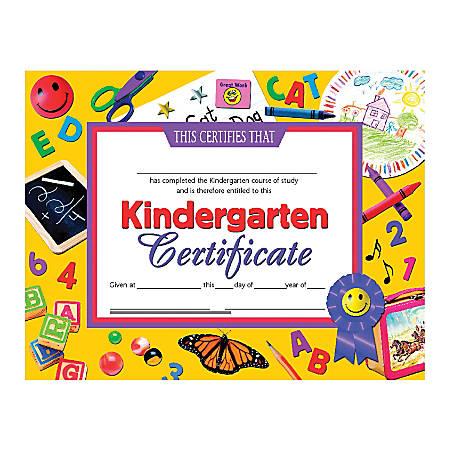 "Hayes Publishing Certificates, Kindergarten, 8 1/2"" x 11"", Multicolor, Pack Of 30"