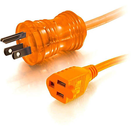 C2G 8ft 16 AWG Hospital Grade Power Extension Cord (NEMA 5-15P to NEMA 5-15R) - Orange