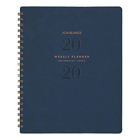 """AT-A-GLANCE® Signature Collection 13-Month Weekly/Monthly Planner, 8-1/2"""" x 11"""", Navy, January 2020 to January 2021"""