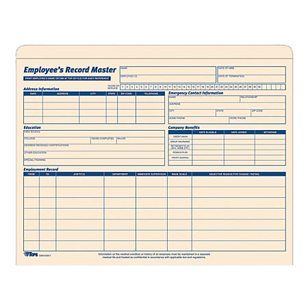 """TOPS® Employee Record Master File Jackets, 11 3/4"""" x 9 1/2"""", Manila, Pack Of 20"""