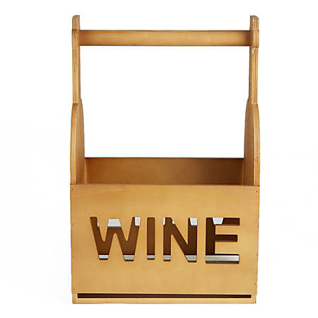 "Mind Reader 6-Bottle Wooden Wine Carrier With Handle, 16""H x 10""W x 7""D, Brown"
