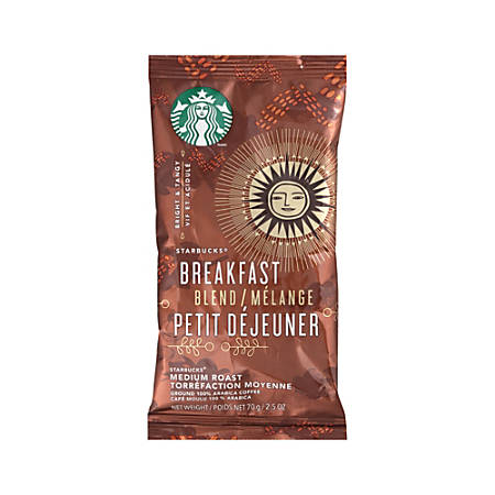 Starbucks® Breakfast Blend Ground Coffee Single-Serve Packets, Carton Of 18
