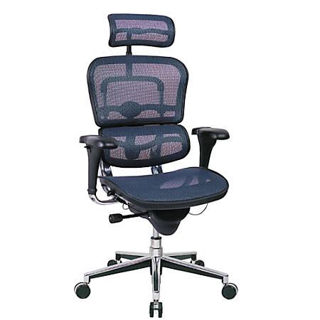 "Raynor® Ergohuman High-Back Mesh Chair, 52""H x 26 1/2""W, Chrome Frame, Blue Mesh Fabric"