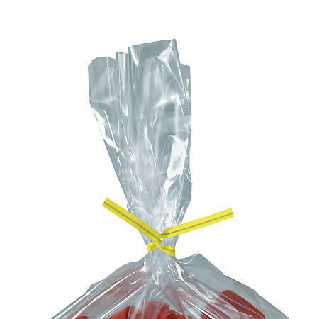 "Partners Brand Plastic Twist Ties, 5/32"" x 4"", Yellow, Case Of 2,000"