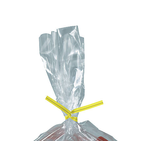"Partners Brand Plastic Twist Ties, 5/32"" x 5"", Yellow, Case Of 2,000"