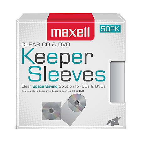 Maxell® CD/DVD Keepers, Clear, Pack Of 50