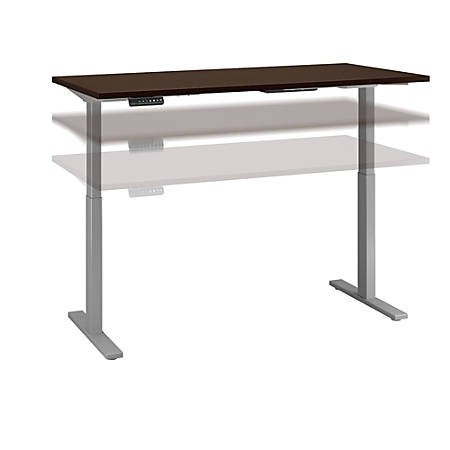 "Bush Business Furniture Move 60 Series 72""W x 24""D Height Adjustable Standing Desk, Mocha Cherry/Cool Gray Metallic, Standard Delivery"