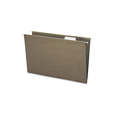 """Smead® 1/5-Tab Cut Hanging File Folders, 2"""" Expansion, Legal Size, 100% Recycled Green, Box Of 25 Folders"""