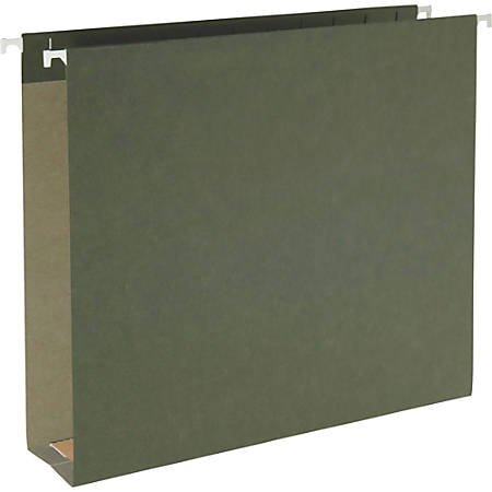 """Smead 100% Recycled Hanging Box Bottom Folders - Letter - 8 1/2"""" x 11"""" Sheet Size - 2"""" Expansion - 11 pt. Folder Thickness - Green - Recycled - 25 / Box"""