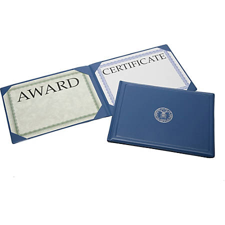 "Award Certificate Vinyl Holders, 8 1/2"" x 11"", DOD Seal, Navy Blue, Case Of 20 (AbilityOne 7510-07-089-2994CA)"