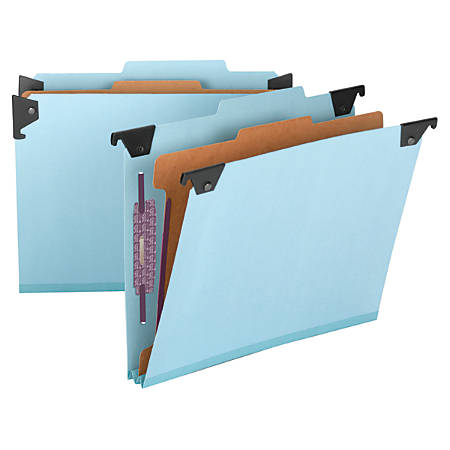 Smead® Hanging Pressboard Classification Folder With SafeSHIELD® Coated Paper Fastener, 1 Divider, Letter Size, 30% Recycled, Blue