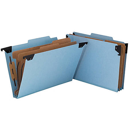 Smead® Hanging Pressboard Classification Folder With SafeSHIELD® Coated Paper Fastener, 2 Dividers, Legal Size, 30% Recycled, Blue