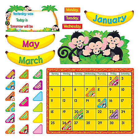 "TREND Monkey Mischief® Calendar Bulletin Board Set, 17 1/2"" x 23 1/4"", Multicolor, Pre-K -Grade 6"
