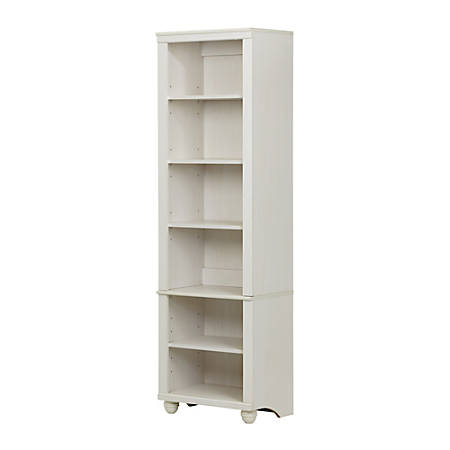 South Shore Hopedale Narrow 6-Shelf Bookcase, White Wash