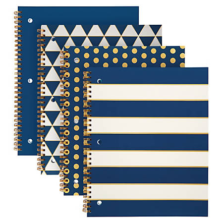 """Office Depot® Brand Fashion Spiral Notebook, 8 1/2"""" x 10 1/2"""", 1 Subject, College Ruled, 160 Pages (80 Sheets), Assorted Navy And Gold Designs"""
