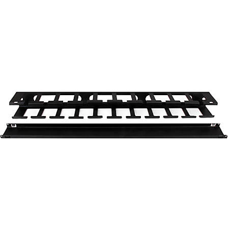 "StarTech.com 1U Horizontal Finger Duct Rack Cable Management Panel with Cover - Black - 1 Pack - 1U Rack Height - 19"" Panel Width - Steel - TAA Compliant"