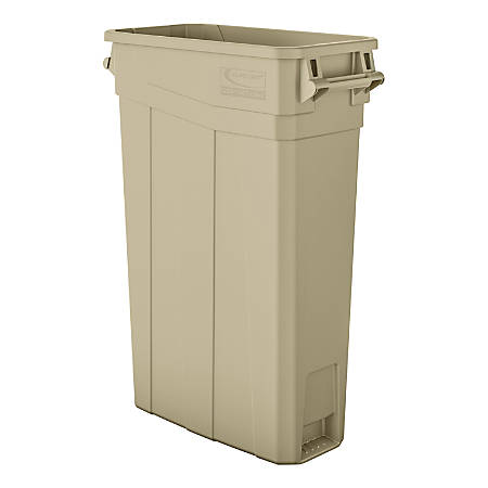 "Suncast Commercial Narrow Rectangular Resin Trash Can, With Handles, 23 Gallons, 30""H x 11""W x 22""D, Sand"